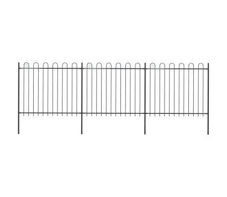 vidaXL Trädgårdsstaket med böjd topp stål 5,1x1,5 m svart