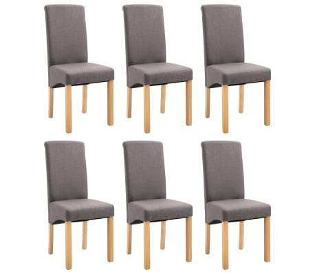 Outstanding Vidaxl Dining Chairs 6 Pcs Taupe Fabric Theyellowbook Wood Chair Design Ideas Theyellowbookinfo