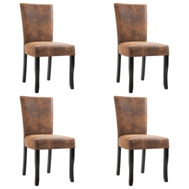 Pleasant Vidaxl Dining Chairs 4 Pcs Brown Faux Suede Leather Vidaxl Com Gmtry Best Dining Table And Chair Ideas Images Gmtryco