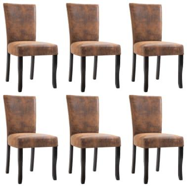 Fantastic Vidaxl Dining Chairs 6 Pcs Brown Faux Suede Leather Vidaxl Com Creativecarmelina Interior Chair Design Creativecarmelinacom