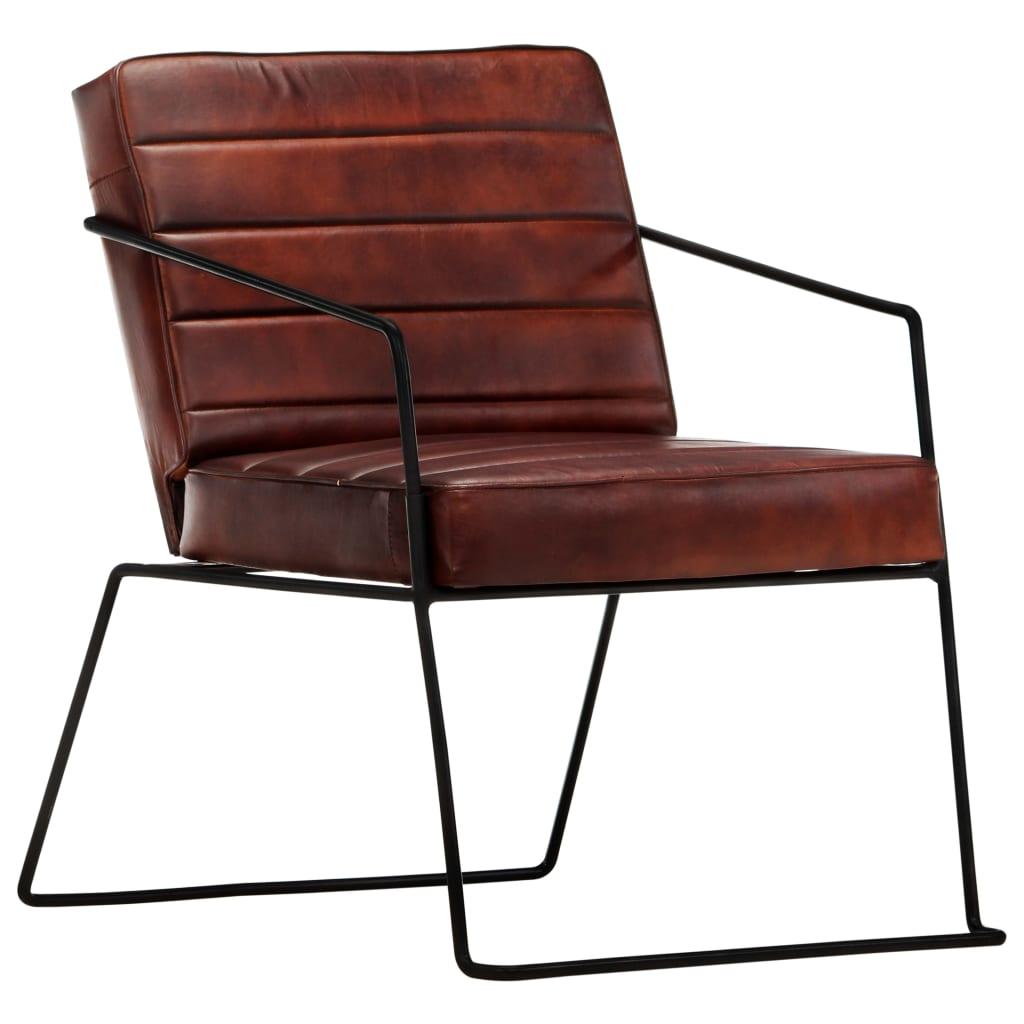 vidaXL Fotel, ciemnobrązowy, skóra naturalna