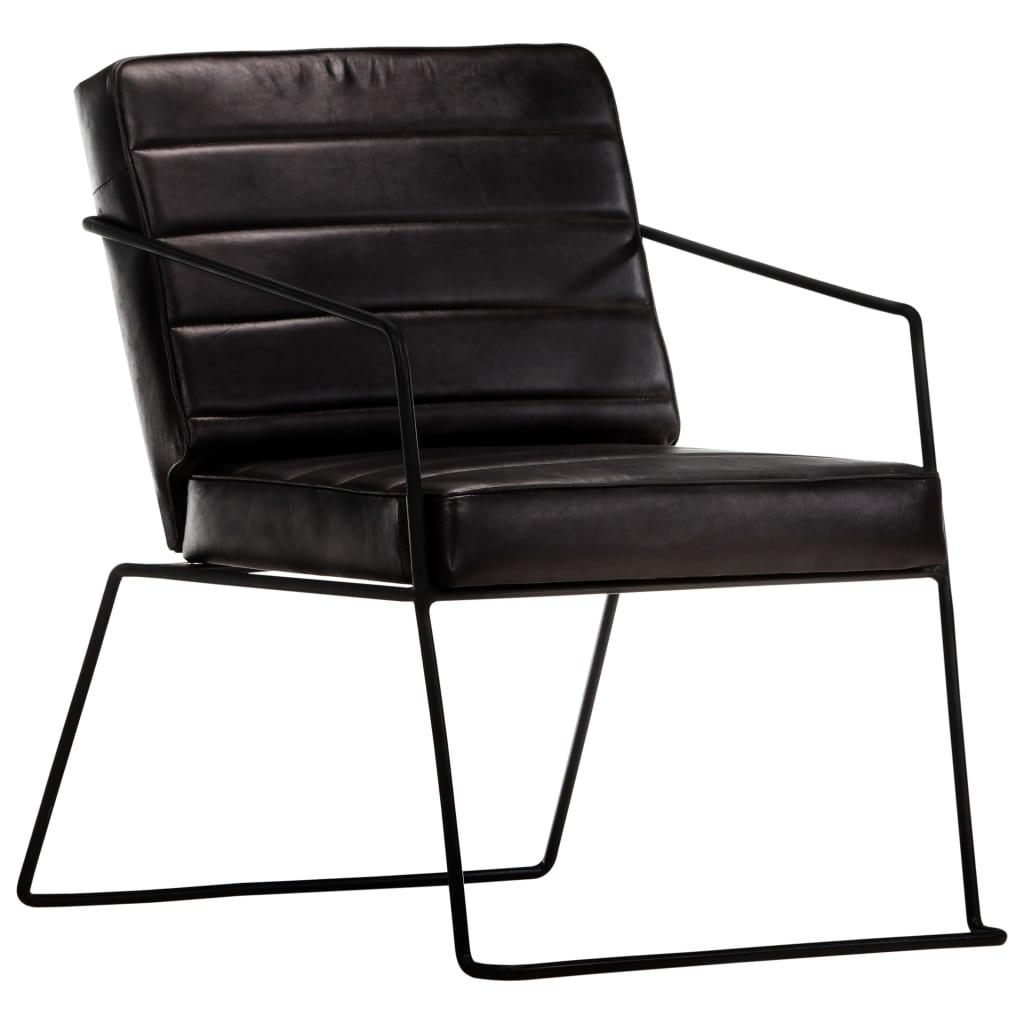 vidaXL Fotel, czarny, skóra naturalna