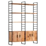 vidaXL 4-Tier Bookcase 124x30x180 cm Solid Acacia Wood