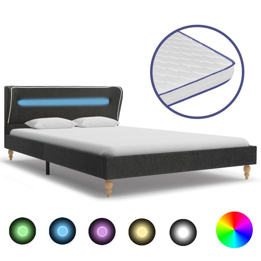 Bett LED Memory-Schaum-Matratze Dunkelgrau Sackleinen 90x200cm