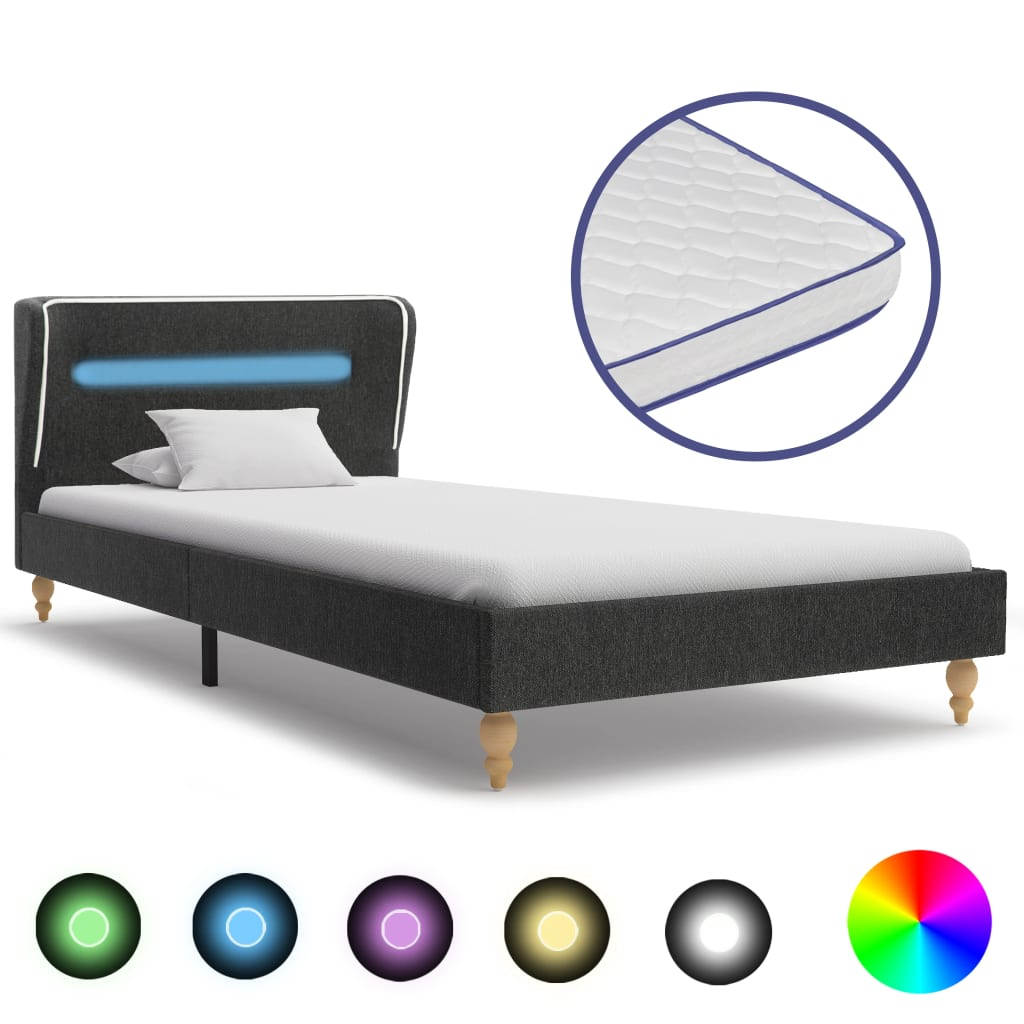 Bed met LED en traagschuim matras jute donkergrijs 120x200 cm