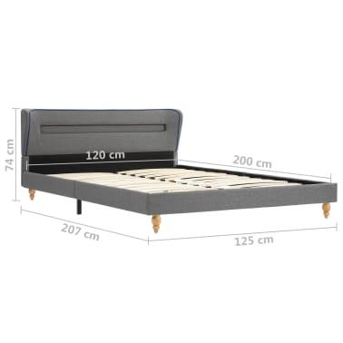 vidaXL Lit LED matelas à mémoire de forme Gris clair Tissu 120x200 cm[15/15]