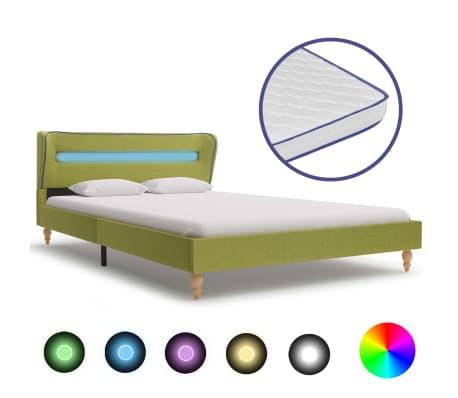 vidaXL Pat cu LED și saltea spumă memorie, verde, 120 x 200 cm textil