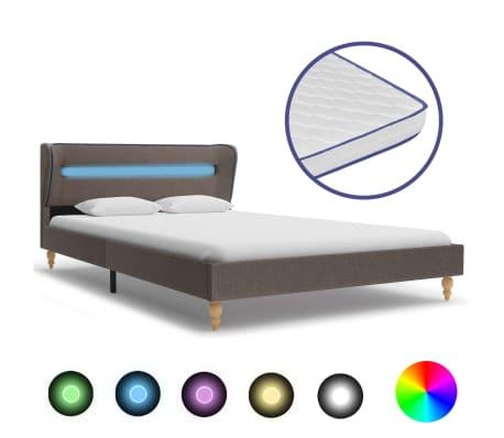 vidaXL Postel s matrací z paměťové pěny LED taupe textil 120 x 200 cm