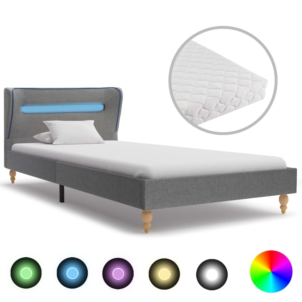 Bett mit LED und Matratze Hellgrau Stoff 90 x 200 cm