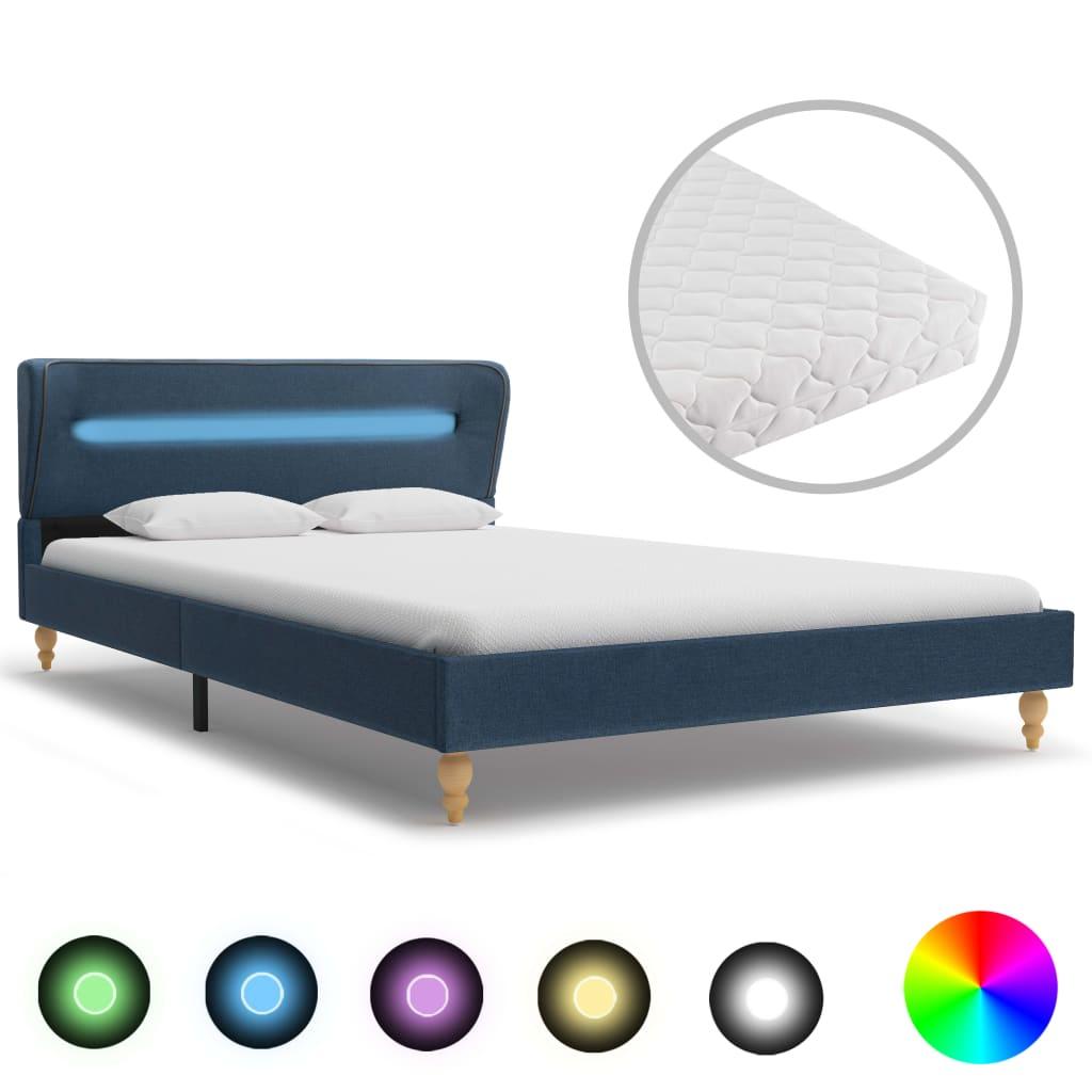 Bett mit LED und Matratze Blau Stoff 120 x 200 cm