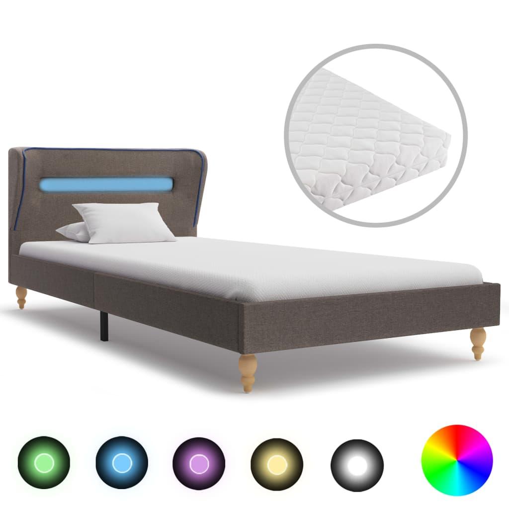 Bett mit LED und Matratze Taupe Stoff 90 x 200 cm