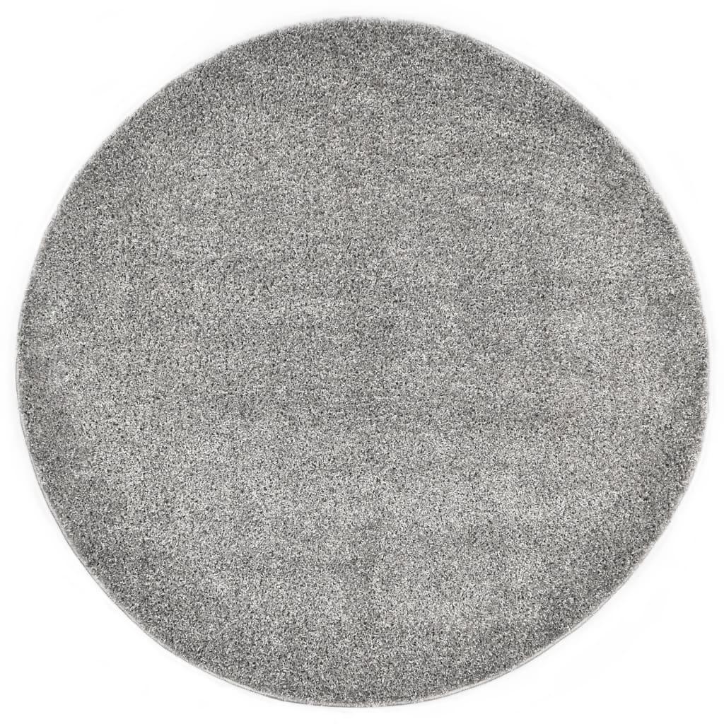 vidaXL Vloerkleed shaggy hoogpolig 120 cm grijs