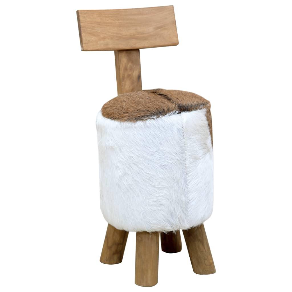 vidaXL Taburet, maro, lemn masiv de tec poza vidaxl.ro