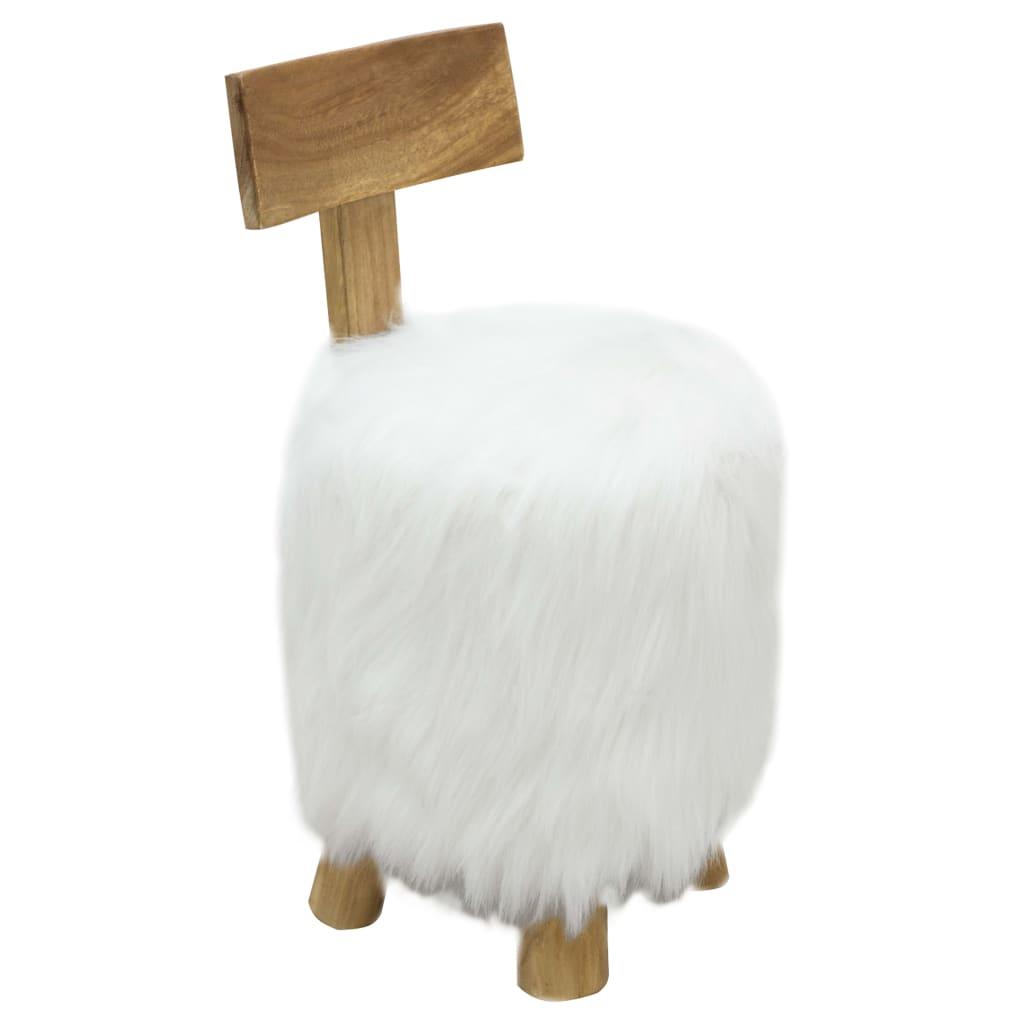 Stolička bílá masivní teakové dřevo