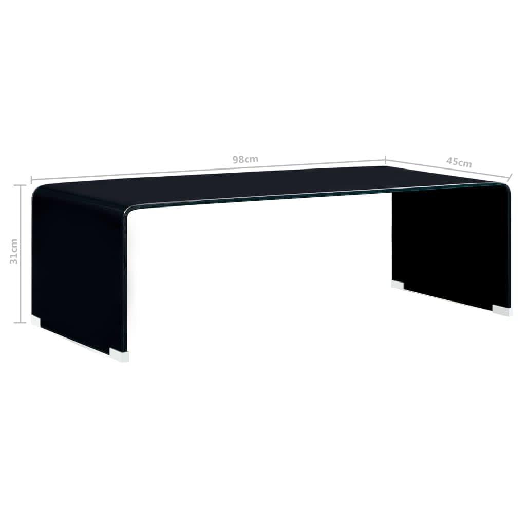vidaXL Salontafel 98x45x31 cm gehard glas zwart