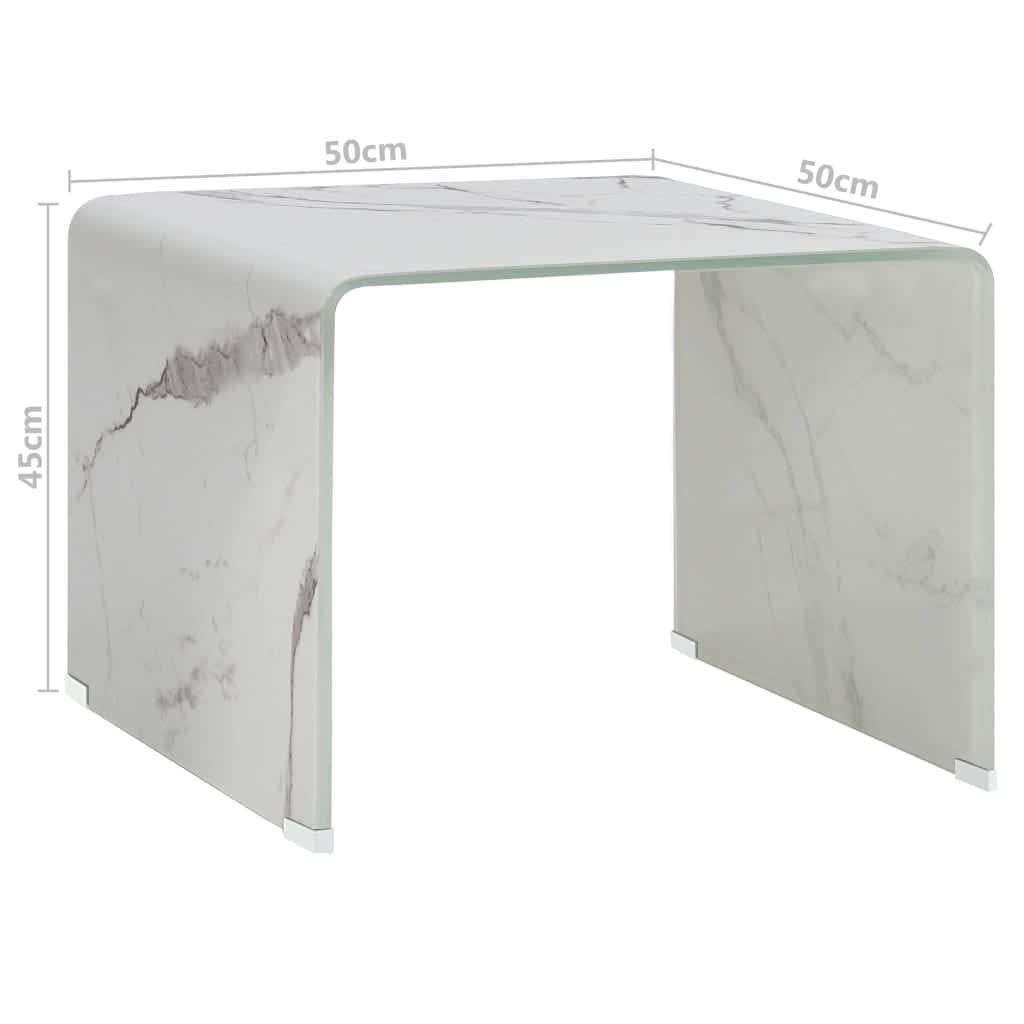 vidaXL Salontafel 50x50x45 cm gehard glas marmer wit