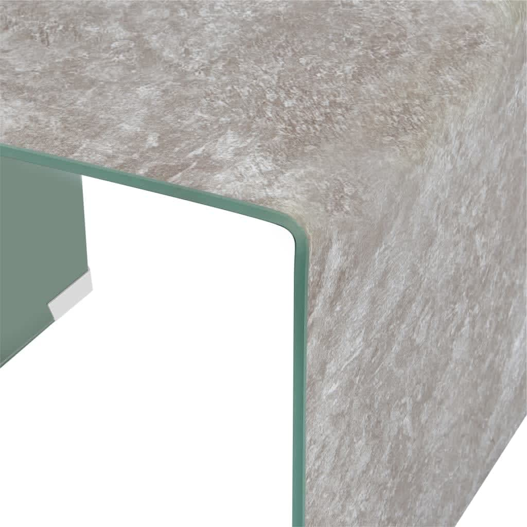 vidaXL Salontafel 50x50x45 cm gehard glas marmer bruin
