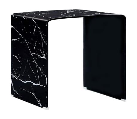 vidaXL Salontafel 50x50x45 cm gehard glas marmer zwart