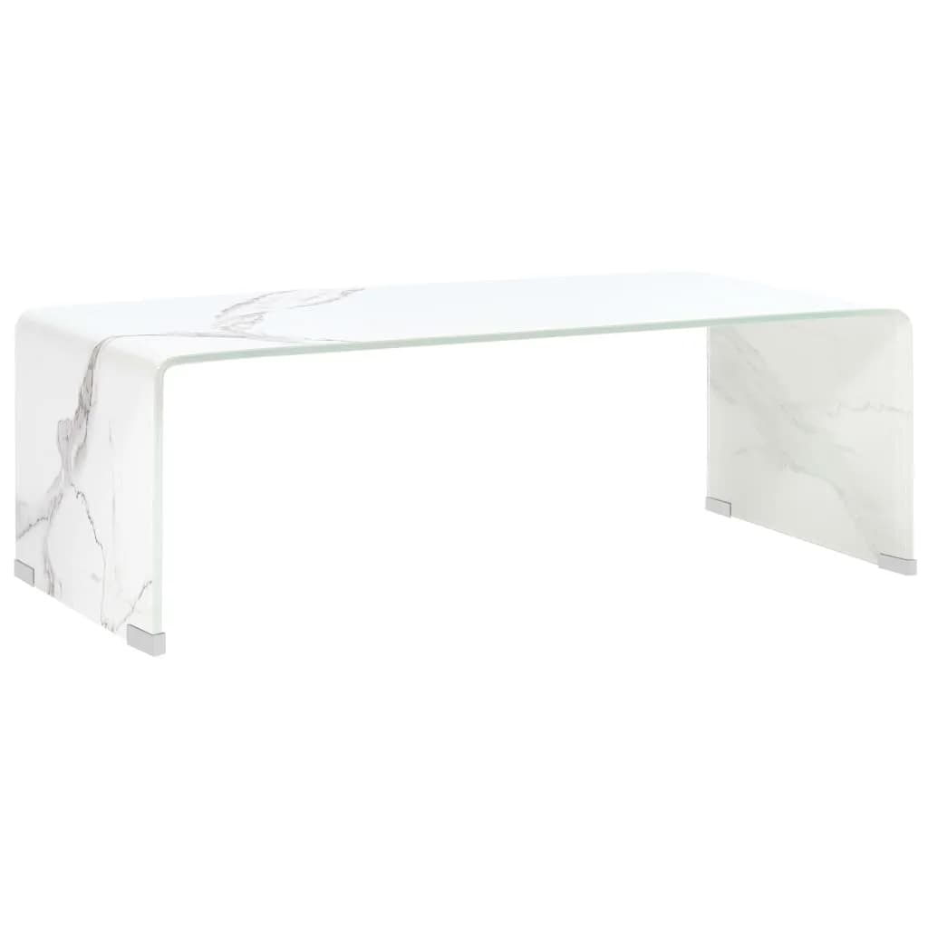 vidaXL Măsuță de cafea, marmură albă, 98x45x31 cm, sticlă securizată imagine vidaxl.ro