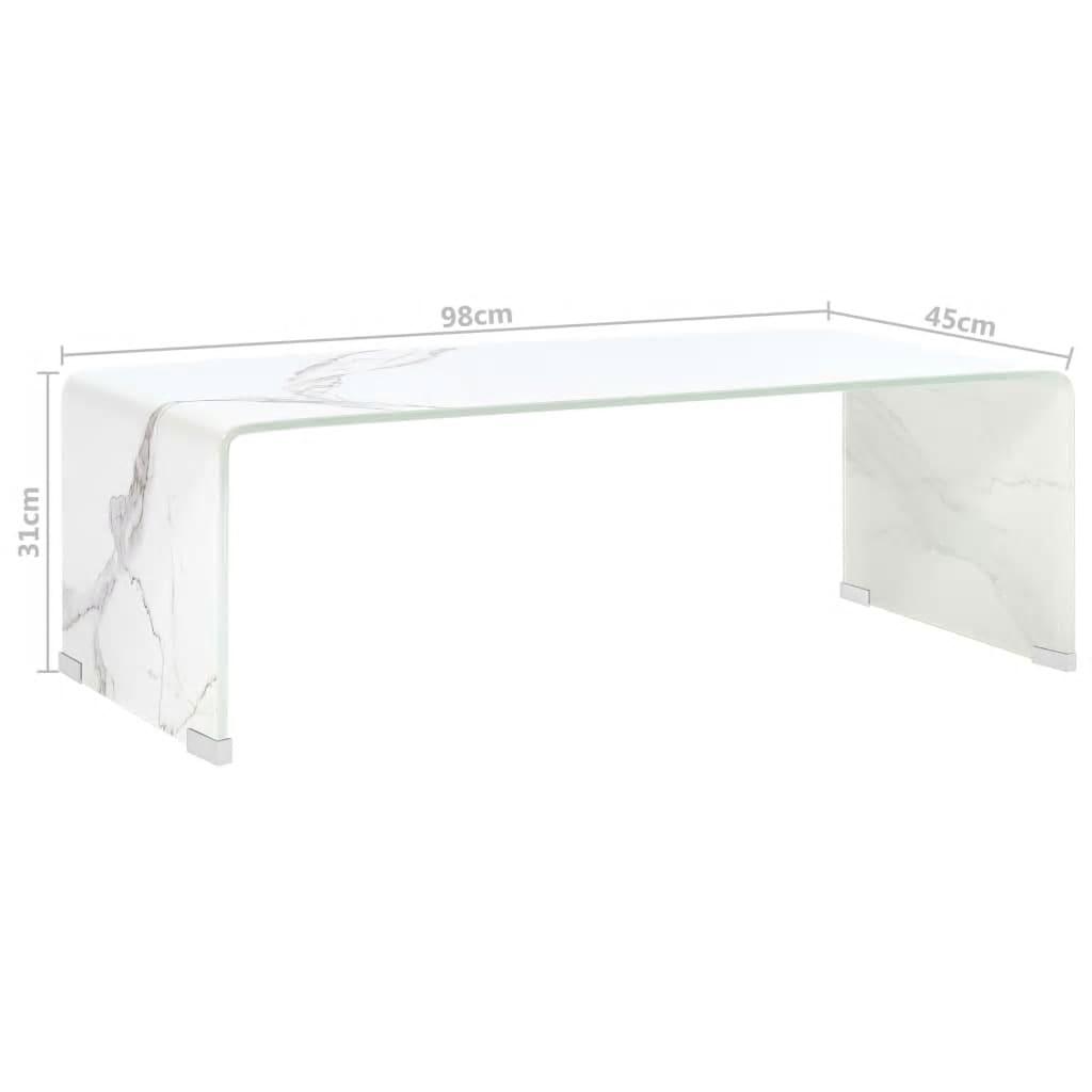 vidaXL Salontafel 98x45x31 cm gehard glas marmer wit