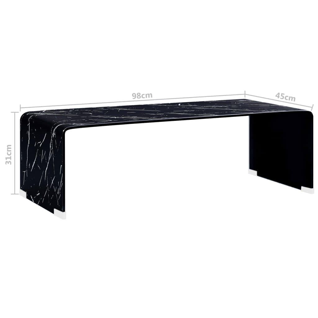 vidaXL Salontafel 98x45x31 cm gehard glas marmer zwart