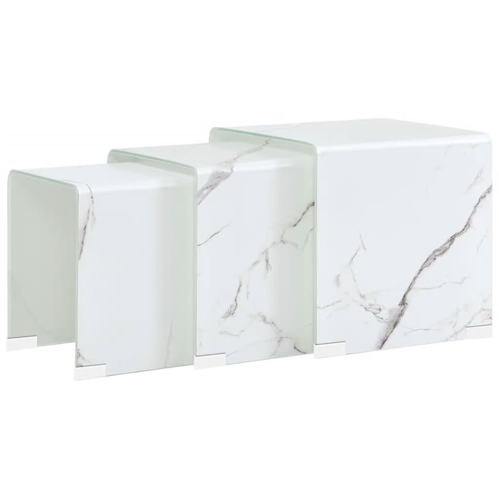 vidaXL Mese cafea suprapuse 3 buc., alb marmură, 42x42x41,5 cm, sticlă poza vidaxl.ro