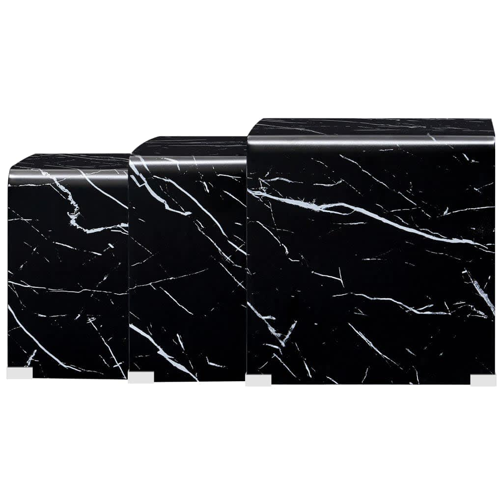 vidaXL 3-delige Salontafelset marmereffect 42x42x41,5 cm gehard glas