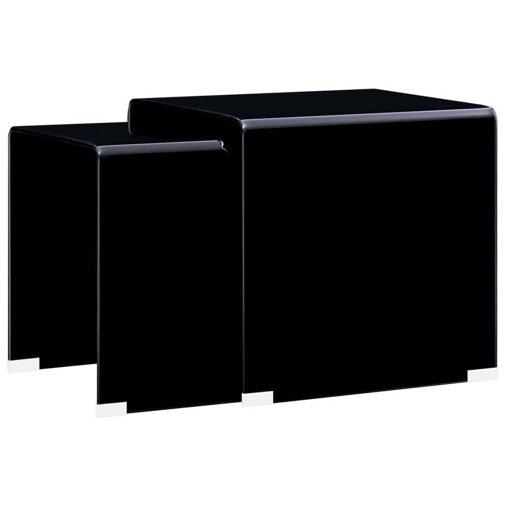 vidaXL Mese cafea suprapuse, 2 buc., negru, 42 x 42 x 41,5 cm, sticlă vidaxl.ro