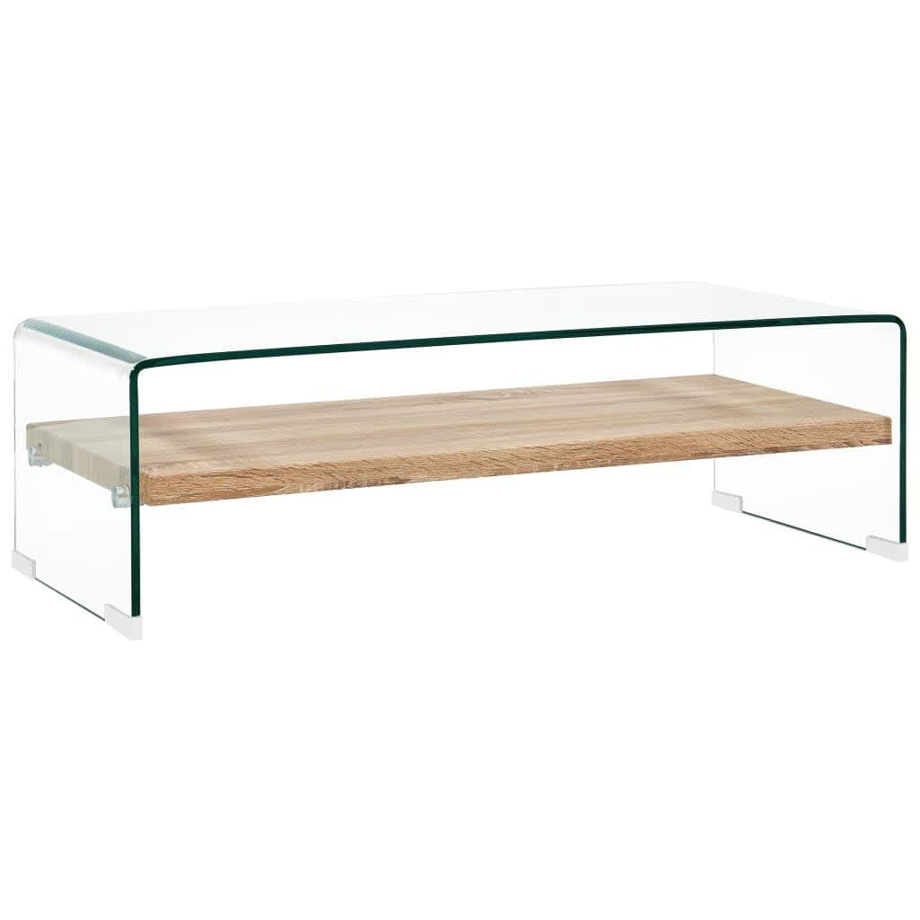 vidaXL Stolić za kavu prozirni 98 x 45 x 31 cm od kaljenog stakla