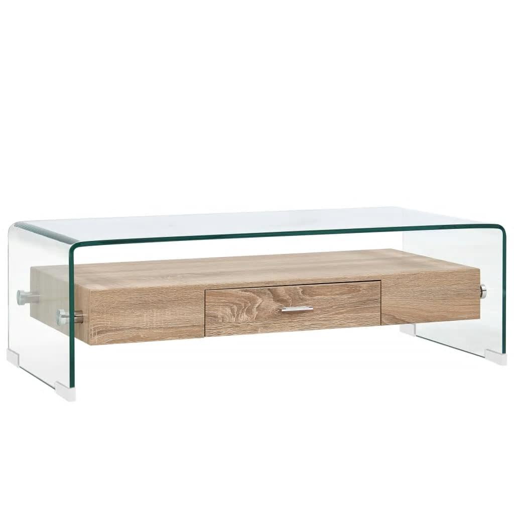 vidaXL Măsuță de cafea, transparent, 98x45x31 cm, sticlă securizată poza 2021 vidaXL