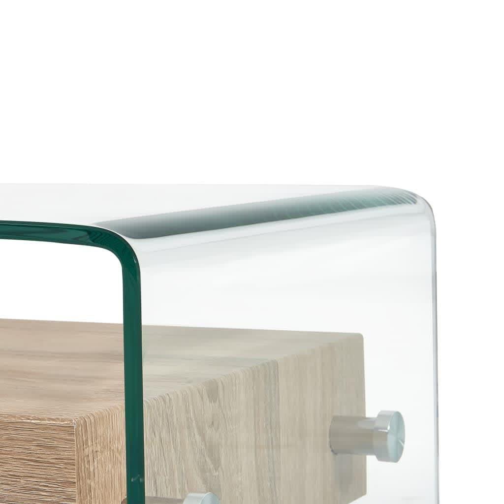 vidaXL Salontafel 98x45x31 cm gehard glas transparant