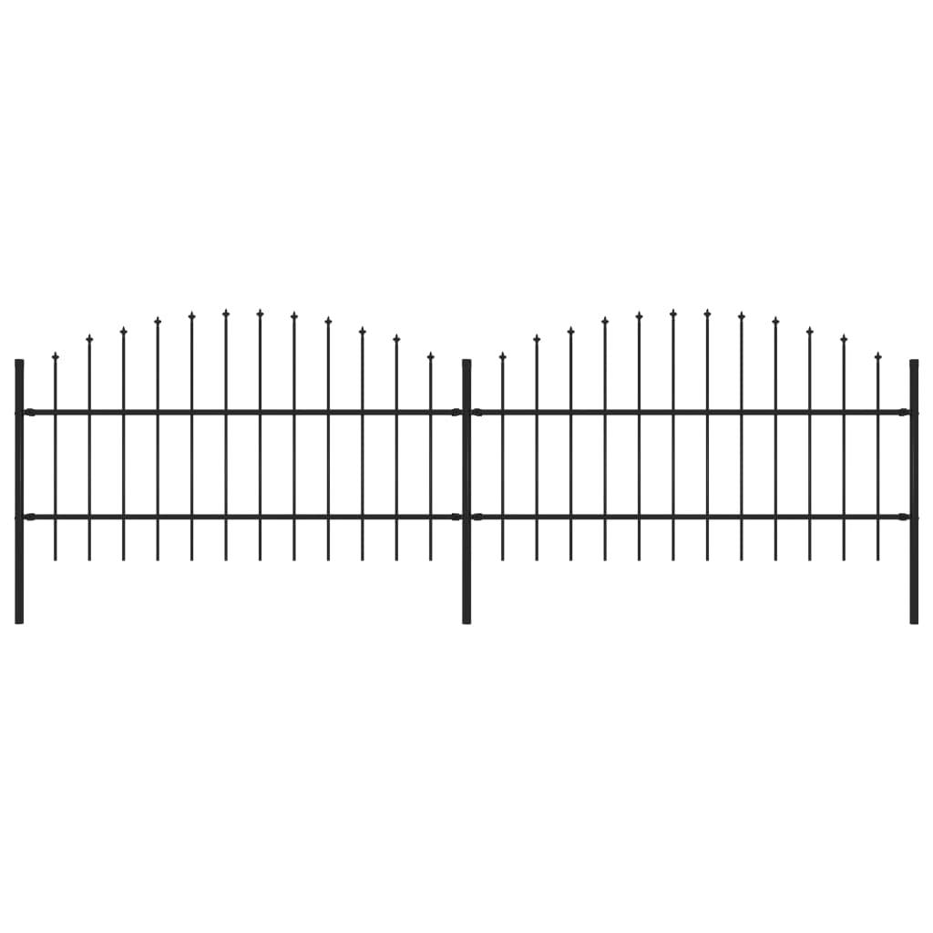 vidaXL Gard de grădină cu vârf suliță, negru, (0,75-1) x 3,4 m, oțel imagine vidaxl.ro