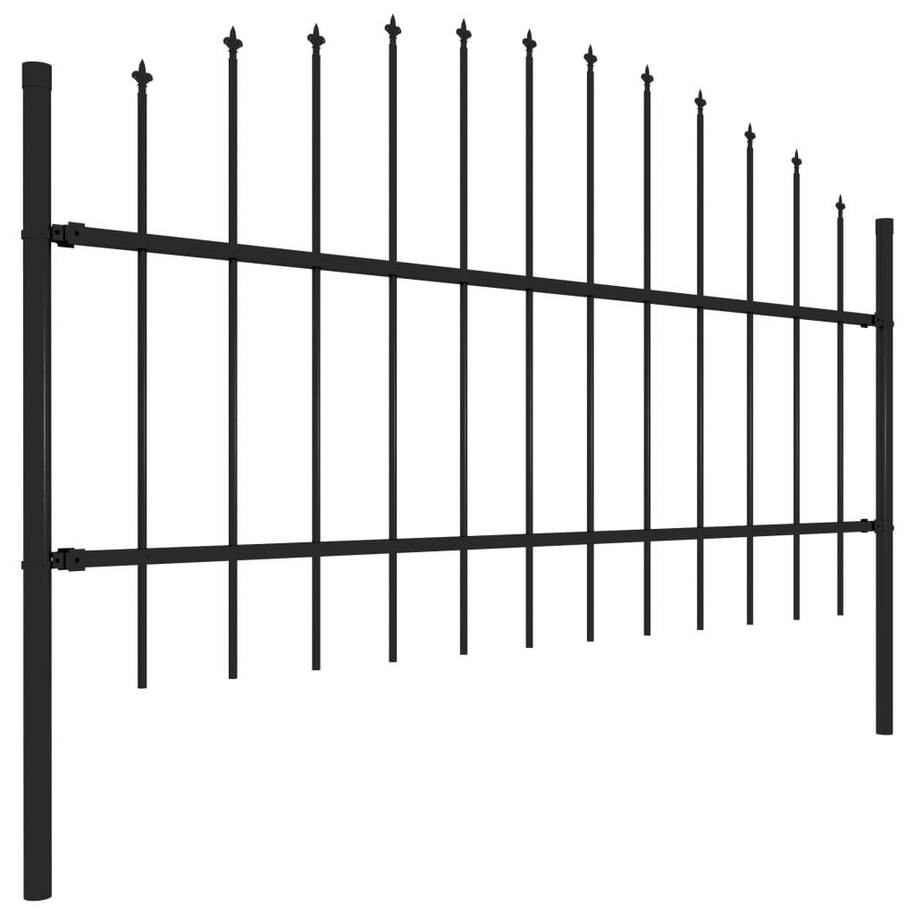 Tuinhek met speren bovenkant (0,75-1)x5,1 m staal zwart