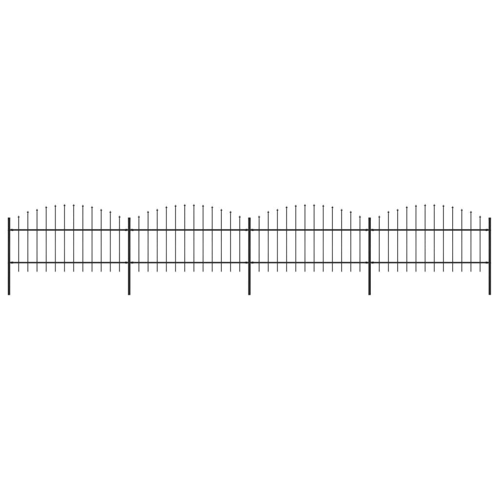 vidaXL Gard de grădină cu vârf suliță, negru, (1-1,25) x 6,8 m, oțel imagine vidaxl.ro
