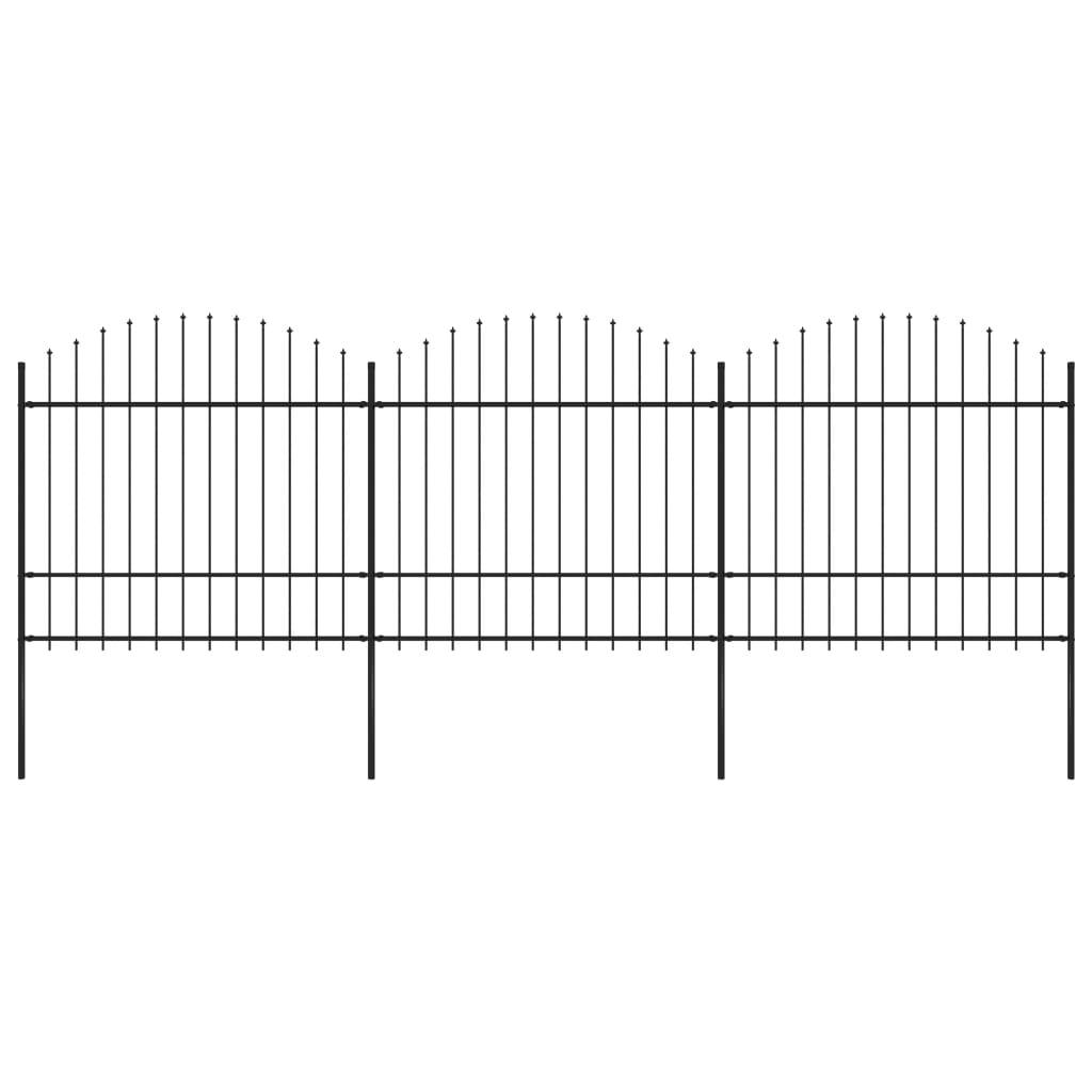 vidaXL Gard de grădină cu vârf suliță, negru, (1,5-1,75)x5,1 m oțel imagine vidaxl.ro