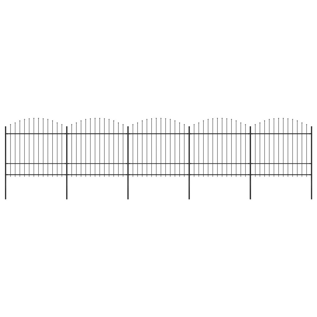 vidaXL Gard de grădină cu vârf suliță, negru, (1,5-1,75) x 8,5 m, oțel imagine vidaxl.ro