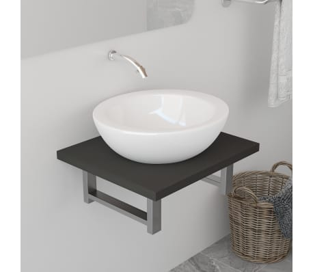 vidaXL Bad-Wandregal für Waschbecken Grau 40 x 40 x 16,3 cm