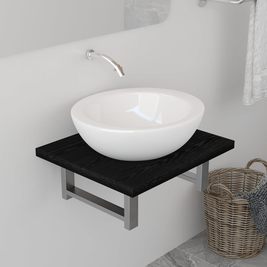 vidaXL Mobilier de baie, negru, 40 x 40 x 16,3 cm imagine vidaxl.ro