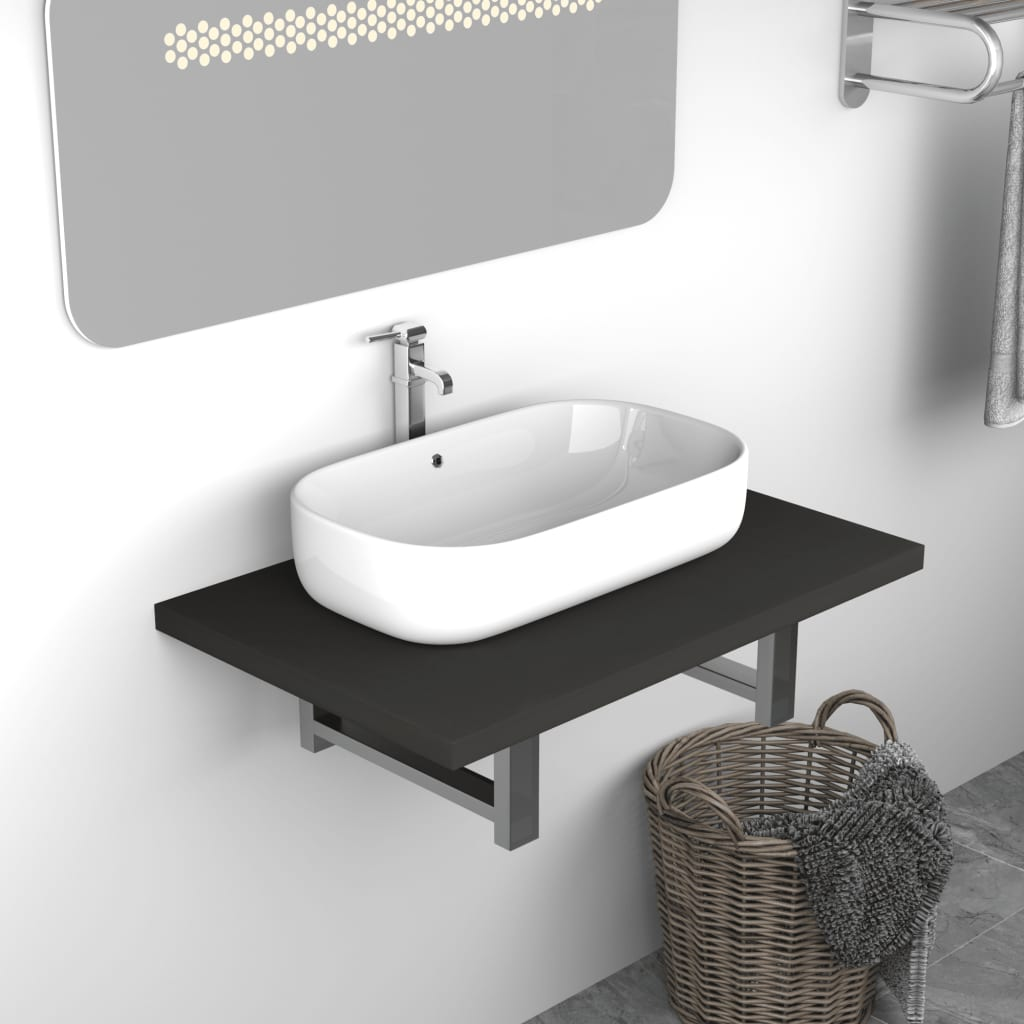 vidaXL Koupelnový nábytek šedý 60 x 40 x 16,3 cm