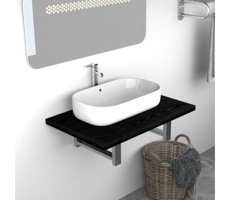 vidaXL Vonios kambario baldas, juodas, 60x40x16,3cm[1/9]