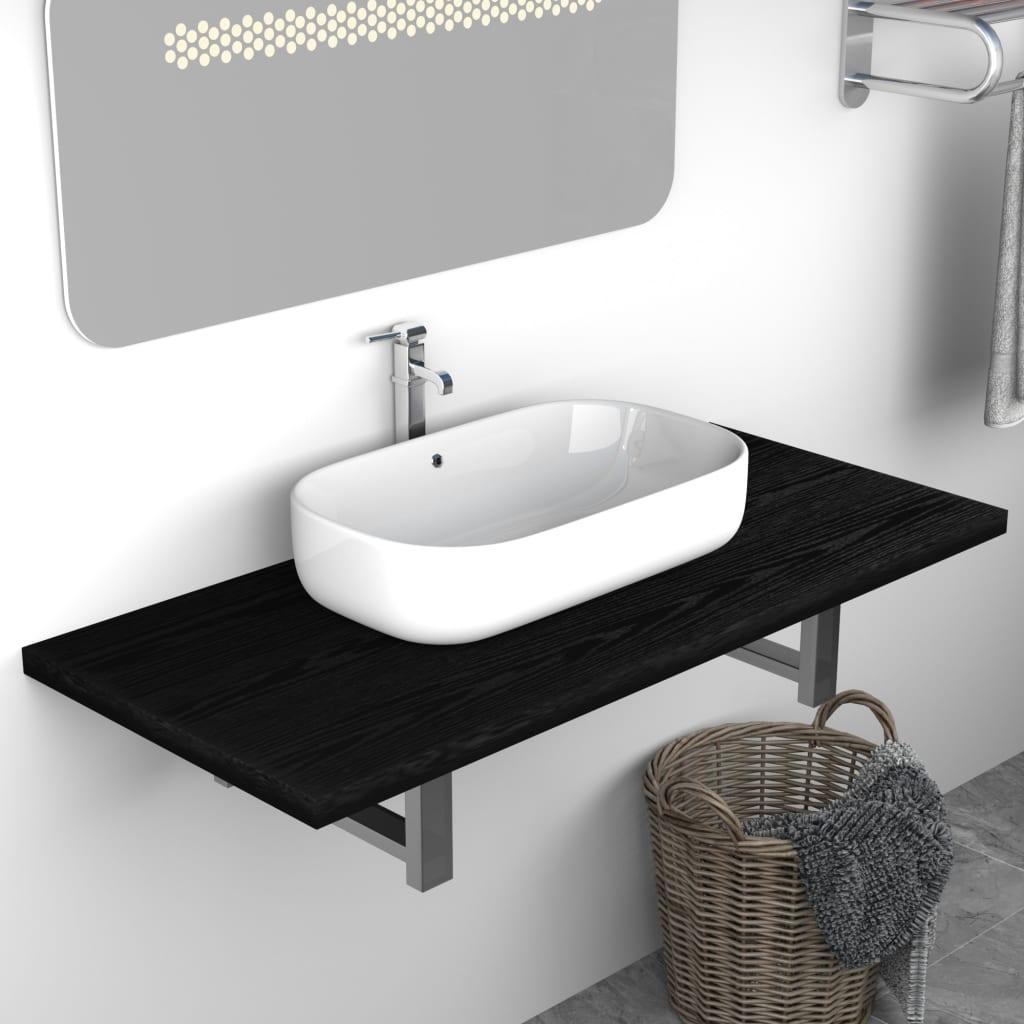 vidaXL Mobilier de baie, negru, 90 x 40 x 16,3 cm imagine vidaxl.ro