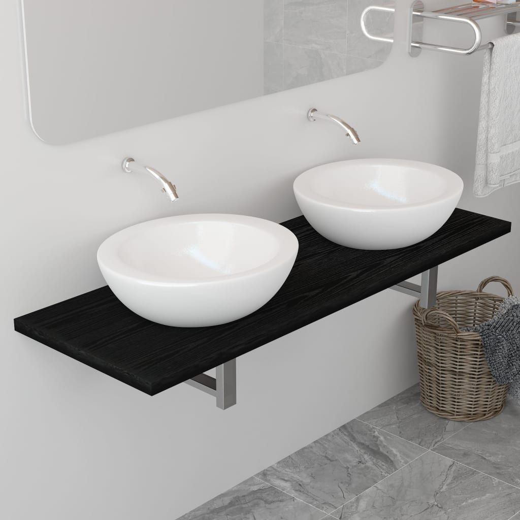 vidaXL Mobilier de baie, negru, 120 x 40 x 16,3 cm imagine vidaxl.ro