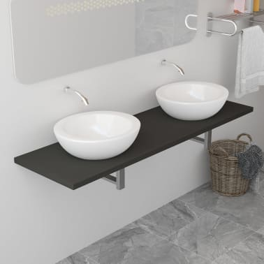 vidaXL Vonios kambario baldas, pilkas, 160x40x16,3cm[1/9]