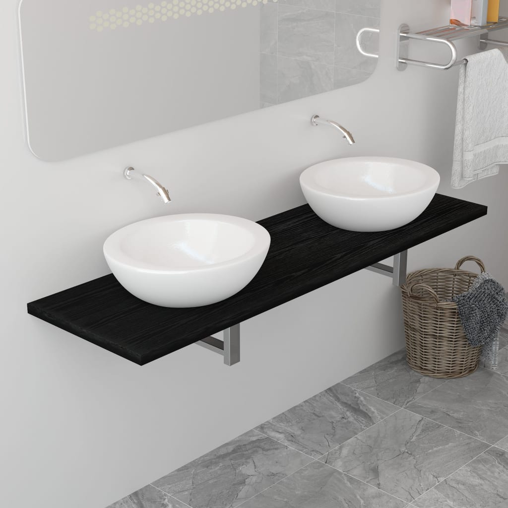 Koupelnový nábytek černý 160 x 40 x 16,3 cm
