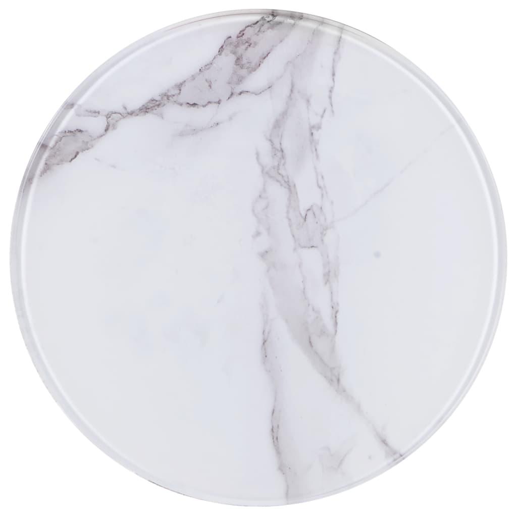 vidaXL Blat de masă, alb, Ø30 cm, sticlă cu textură de marmură poza vidaxl.ro