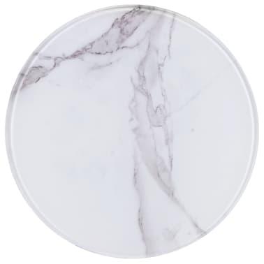 vidaXL Stalviršis, baltas, marmuro tekstūros stiklas, 30cm skersmens[1/4]
