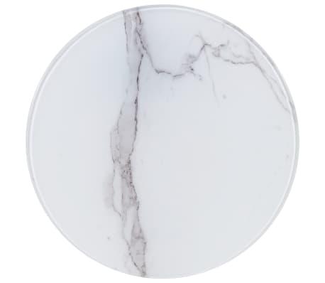vidaXL Dessus de table Blanc Ø40 cm Verre avec texture de marbre