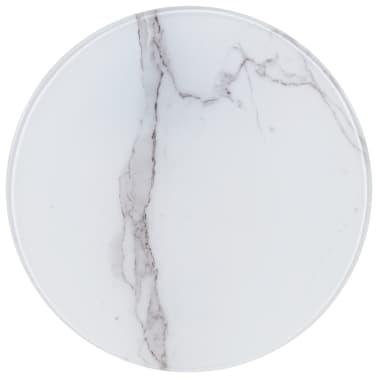 vidaXL Površina za mizo bela Ø40 cm steklo s teksturo marmorja[1/4]