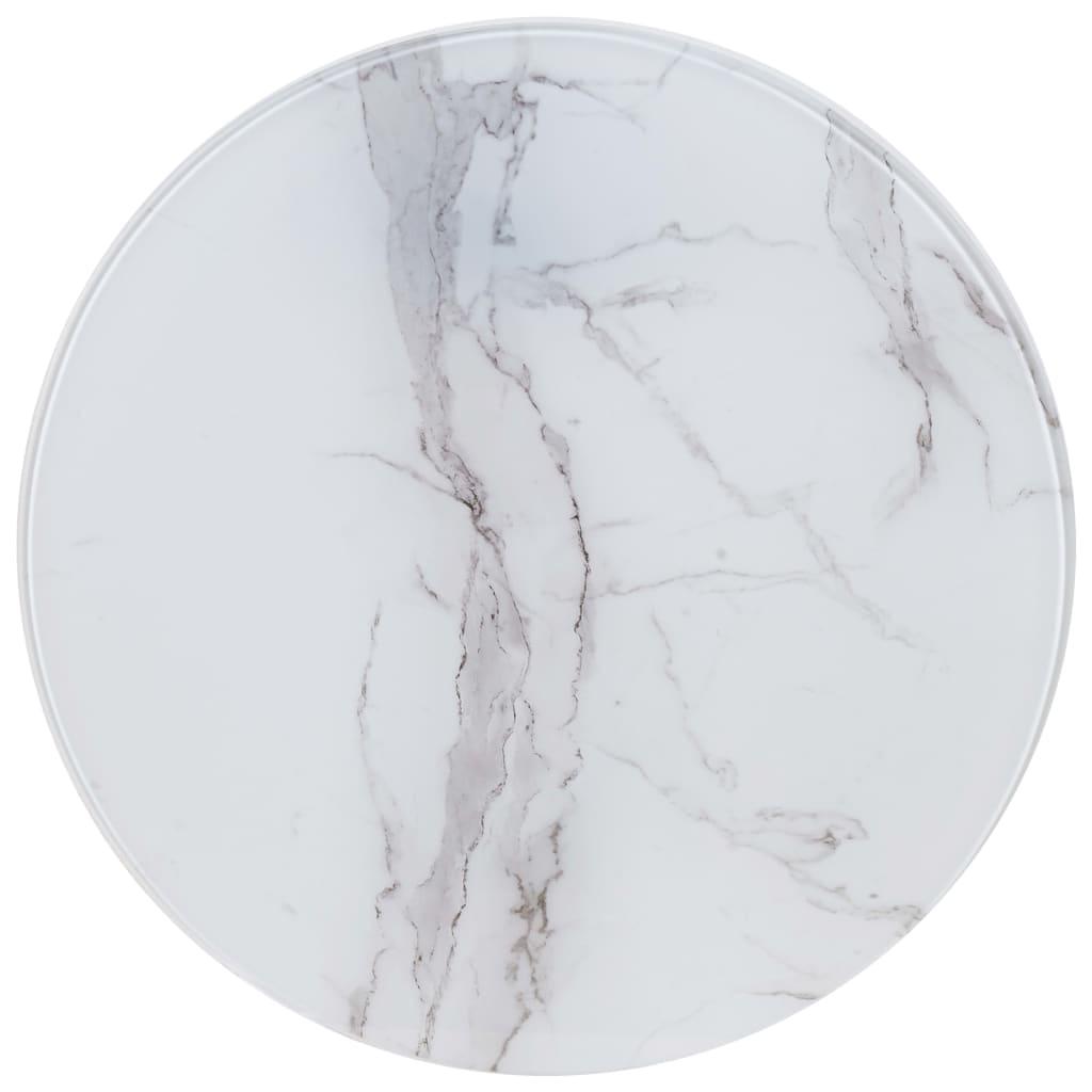 vidaXL Blat de masă, alb, Ø50 cm, sticlă cu textură de marmură poza 2021 vidaXL