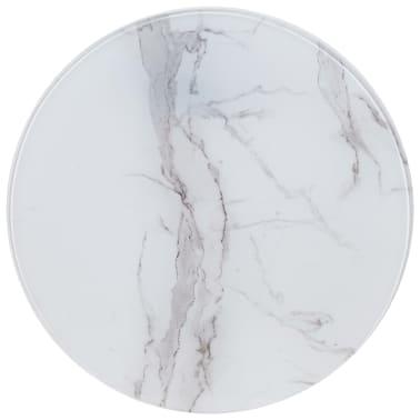 vidaXL Površina za mizo bela Ø 50 cm steklo s teksturo marmorja[1/4]